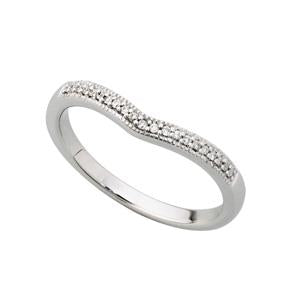 9kt White Gold Curved Eternity Band