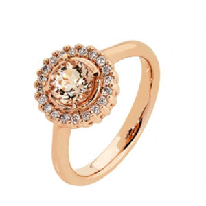 9kt RG Morganite & Diamond Ring - Rnd 6mm