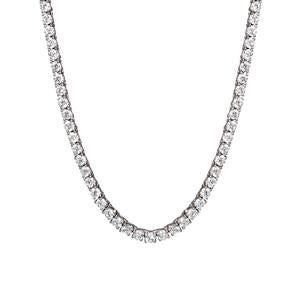 Silver and Round CZ tennis necklet