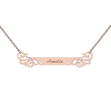 Memi Personalised Designer Filigree Bar Necklace