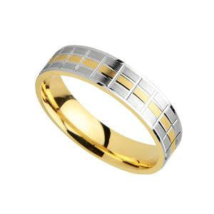 9kt White and Yellow Gold Fancy Wedding Band