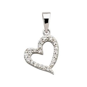 9kt White Gold CZ heart pendant