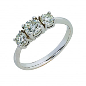 18kt White Gold 3 Stone Trilogy Ring