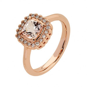 9Kt RG Morganite & Diamond Ring - Cushion 6x6mm