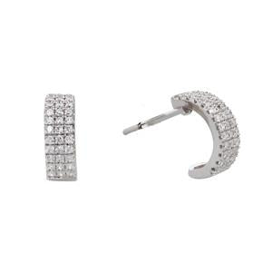 Silver and CZ Huggie Earrings