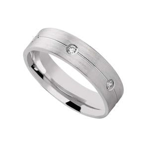 Silver Wedding Band with Matt Finish and CZ stones