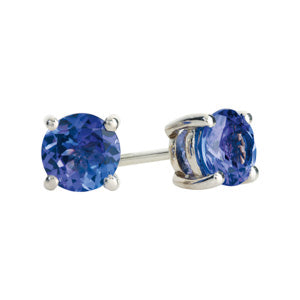 18kt White Gold 1.00ct Tanzanite Stud Earrings