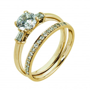 9Kt Yellow Gold CZ Trinity Ring