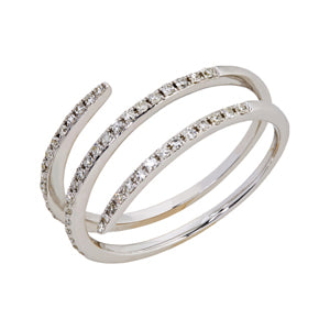 9kt White Gold Diamond Spring Ring