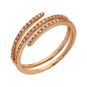 9kt Rose Gold Diamond Spring Ring