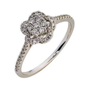 9kt White Gold Diamond - Flower Ring