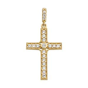 9kt Yellow Gold CZ Cross Pendant