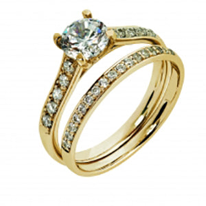 9Kt YG CZ 4 Claw Solitaire & Pave Shoulders Ring