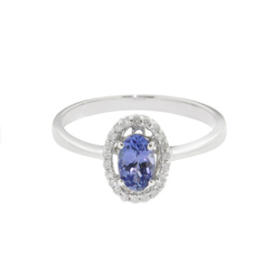 9KT White Gold Oval Tanzanite and Diamond Ring