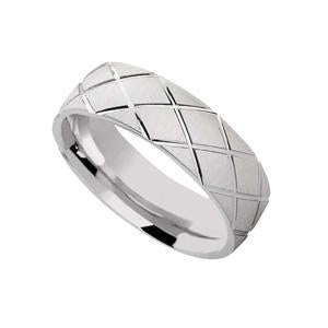 Silver Wedding Band with Pattern