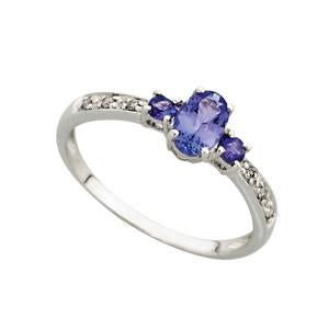 3 Stone 9kt White Gold Tanzanite and Diamond Ring