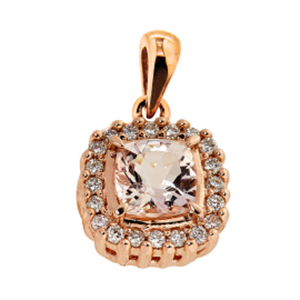 9kt RG Morganite & Diamond Pendant - Cushion 6mm