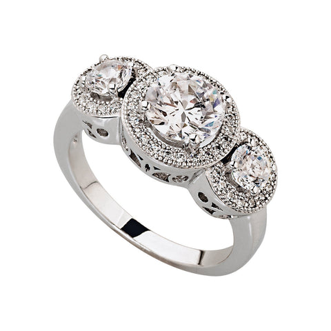 Silver and CZ designer Dress Ring