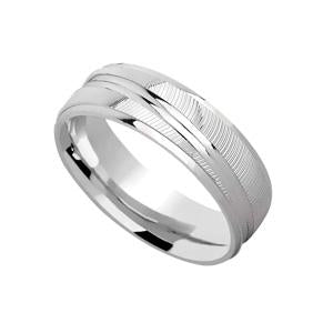 Silver Patterned Wedding Band with Grooves