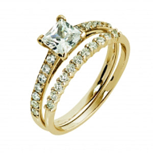 9kt YG CZ Princess Cut With Pave Shoulders Ring