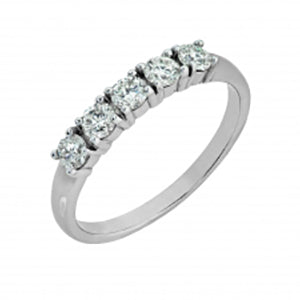 9Kt White Gold 5 Stone Trilogy Ring