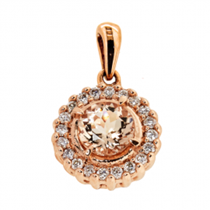 9kt RG Morganite & Diamond Pendant 6mm Rnd