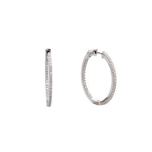 Silver and CZ Hoop Earrings