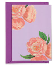 Peach Peonies Floral Card
