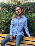 Blue Fitted Blouse