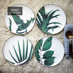 Tropical plants plate gold inlay dessert plate Western-style dinnerware 1pc/lot & Dishes \u0026 Plates \u2013 KissTheChefs