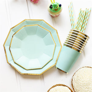 8Pcs/Bag Gold Mint Green Disposable Tableware Party Paper Plates Cups Straw Birthday Party Xmas  sc 1 st  Tableware \u2013 KissTheChefs & Tableware \u2013 KissTheChefs