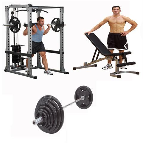 Phenomenal Body Solid Pro Stabilized Power Rack Bench Barbell Package For Bench Press And Pulldown 300Lb Alphanode Cool Chair Designs And Ideas Alphanodeonline