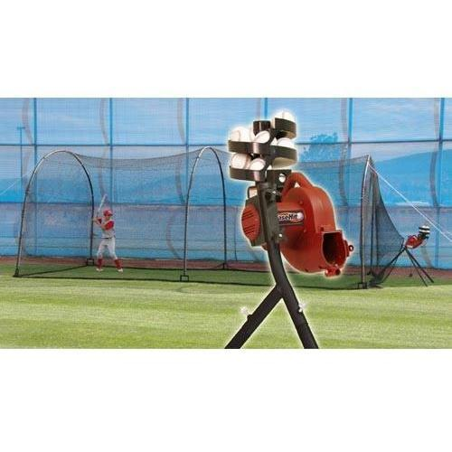 Heater Sports BaseHit Pitching Machine & Xtender 24' Home Batting Cage
