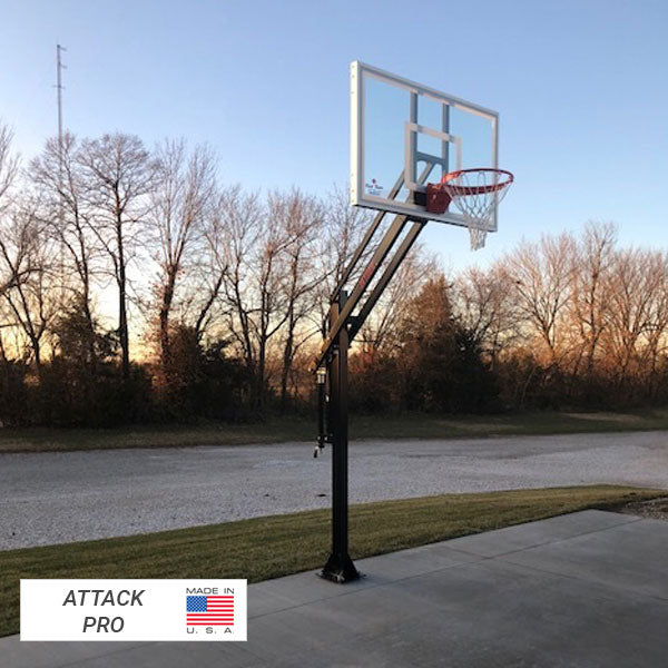 First Team Attack In Ground Adjustable Basketball Goal