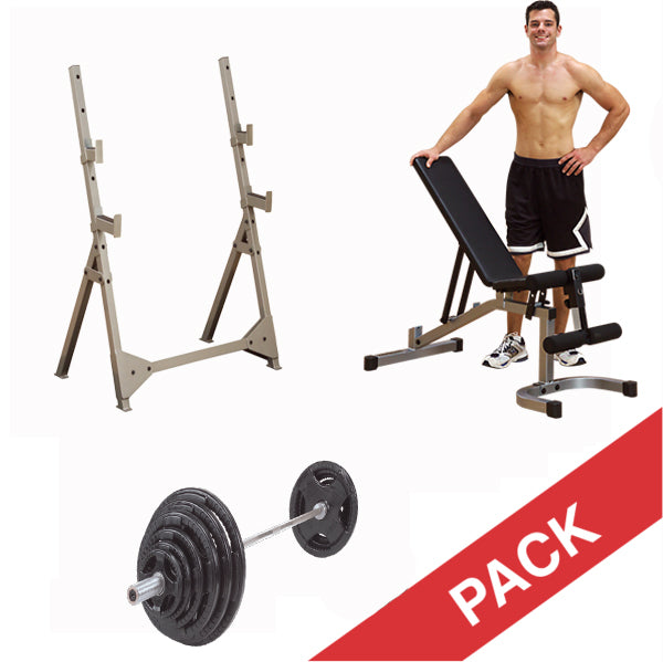 Excellent Body Solid Multi Press Rack Bench Press Shoulder Press Package With Bench And Olympic Barbell Plate Set Alphanode Cool Chair Designs And Ideas Alphanodeonline