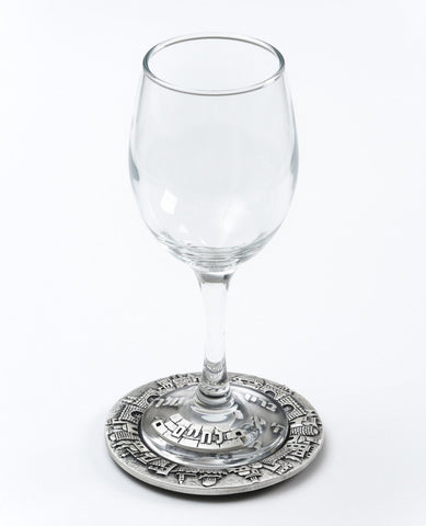 "Glass of wine with a silver plated decoration ""Cheers"" in Hebrew, and a plate for the bottom of the glass  Length: 10 cm  Width: 10 cm"