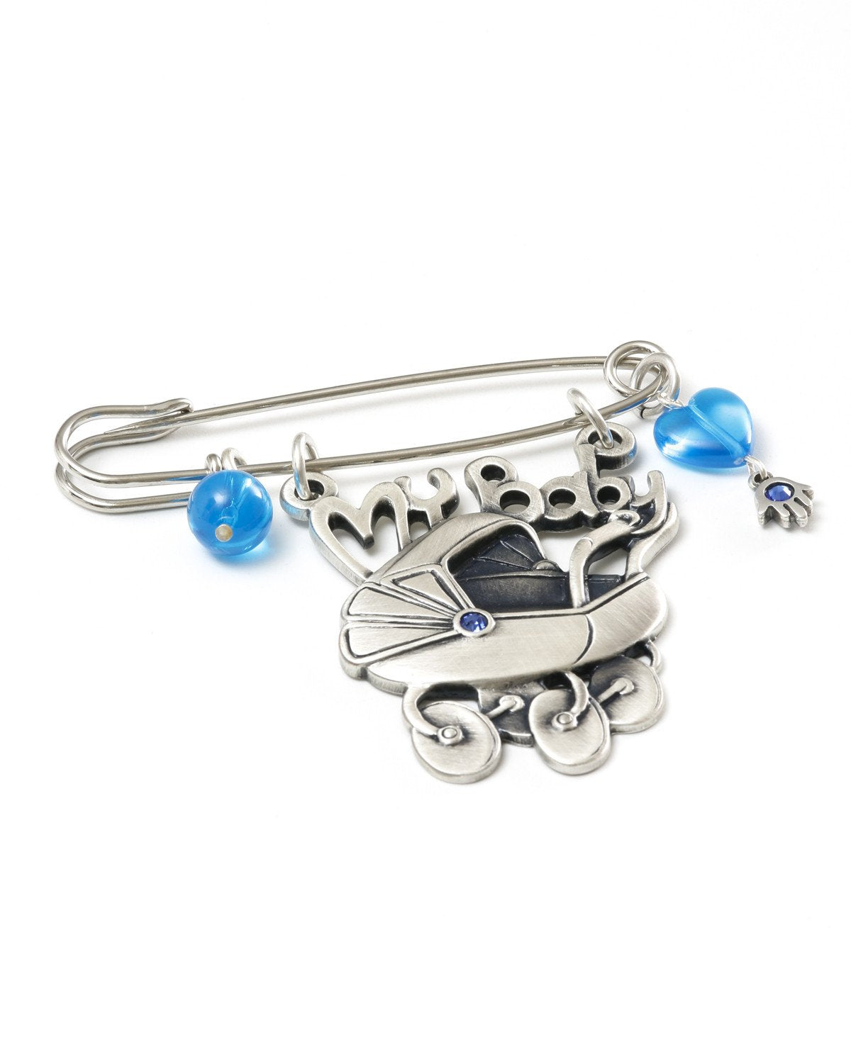Baby carriage pin, embedded with Swarovky crystal.  Length: 7 cm  Width: 7 cm