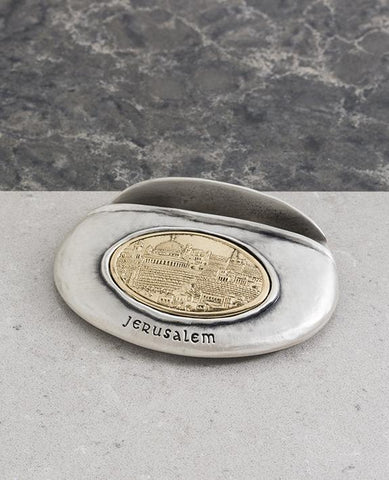 Sterling silver and brass plated business card box with Jerusalem embossed.  Length: 7 cm  Width: 9 cm