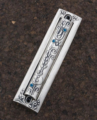 Two parts sterling silver plated Mezuzah with swarovsky crystals. Suitable for 15 cm parchment  Length: 19 cm  Width: 5 cm