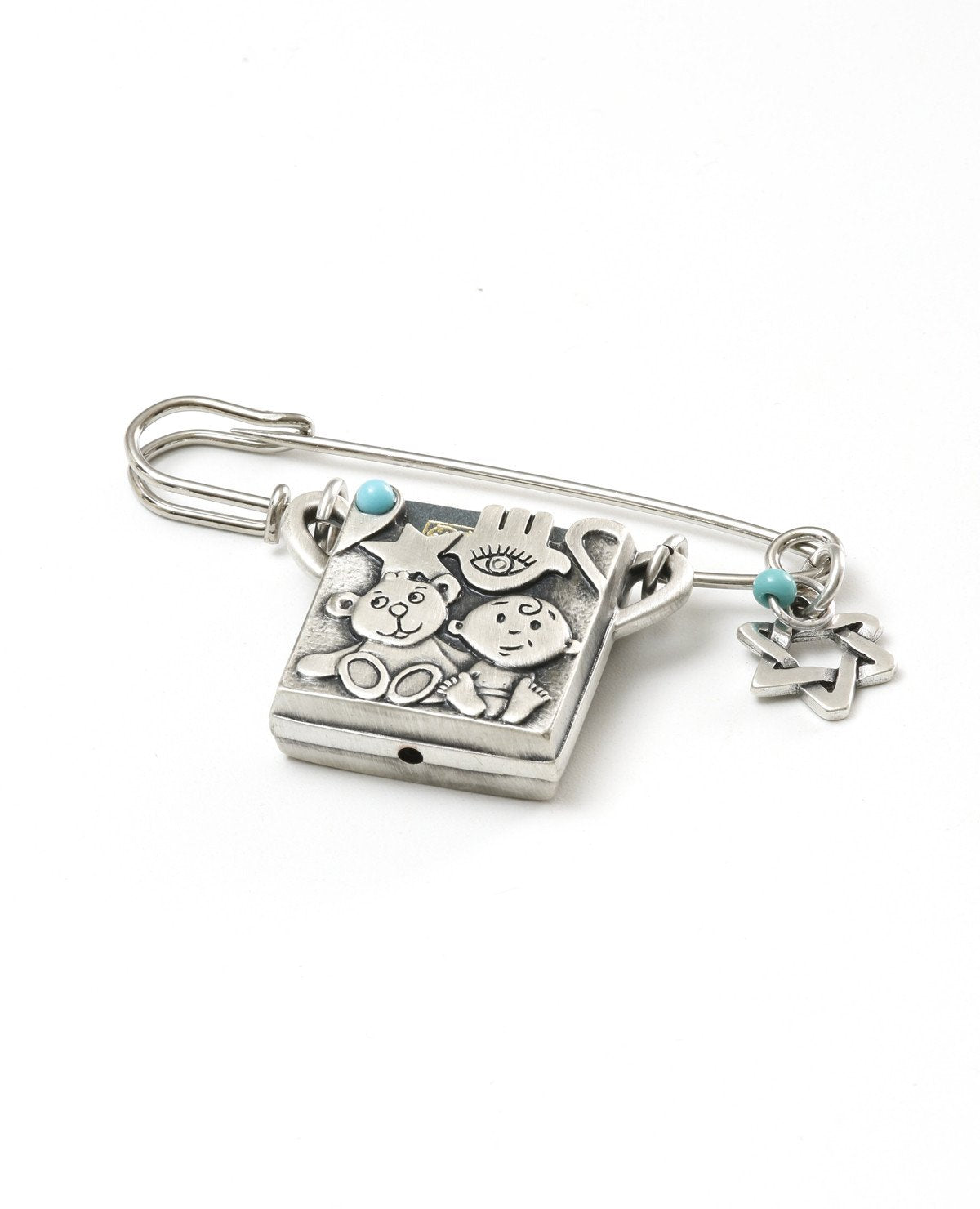 Baby carriage pin with Tehilim. Embedded with Swarovky crystal.  Length: 7 cm  Width: 5 cm