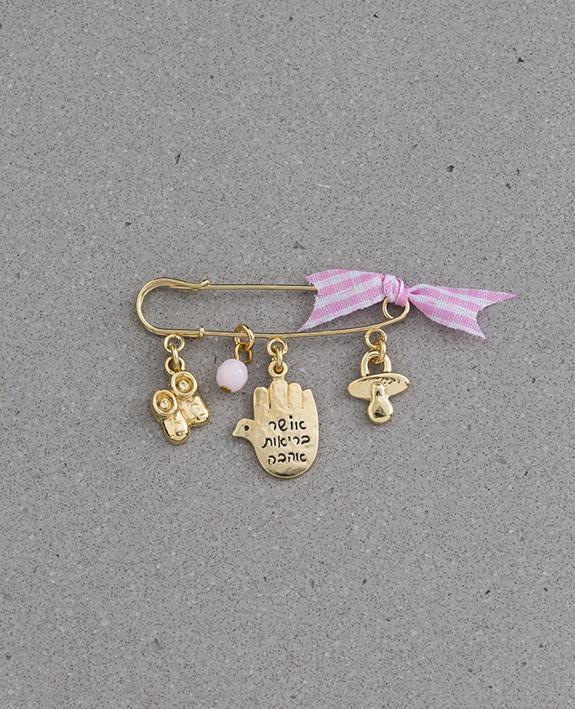 Baby Girl pin with cute elements, 24k gold plated.  Length: 4 cm  Width: 5 cm