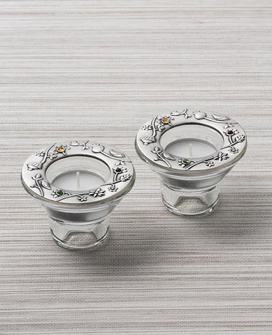 Sterling silver plated decoration, with Swarovsky's crystals flowers on glass candlesticks.  Length: 6 cm  Width: 8 cm