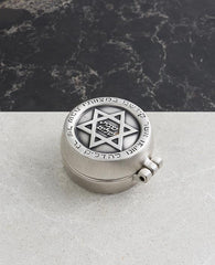 Sterling silver plated candlesticks with star of david embeded on them.   Length: 5 cm  Width: 5 cm