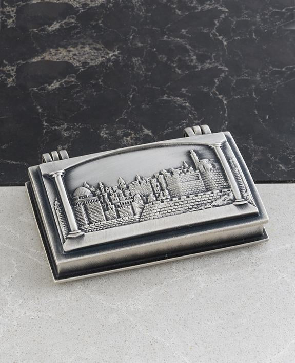 Business card box danon jewelley and judaics gifts danon home and sterling silver plated business card box with jerusalem embossed length 7 cm width colourmoves