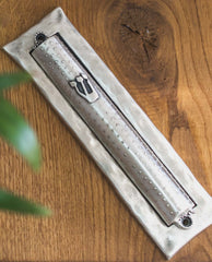 Two parts sterling silver plated Mezuzah. suitable for 15 cm parchment  Length: 19 cm  Width: 5 cm