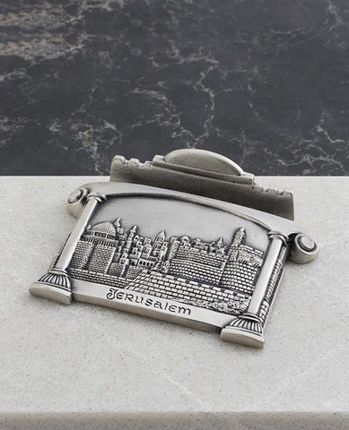 Sterling silver plated business card stand with Jerusalem embossed.  Length: 7 cm  Width: 9 cm