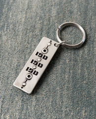 "A gorgeous keychain that is always good to have in your pocket or your bag. Designed in the shape of a rectangle, one side has the words ""Tfu Tfu Tfu"" (""Touch Wood"") written on it. Embedded on the other side is a beautiful blue eye, to ward off the ""evil eye"". Both sides display a similar artistic decoration. The keychain is coated in sterling silver and is strong and reliable. The most protecting gift you can give! Grant it with love to anyone important to you who you wish to protect from any harm that may"