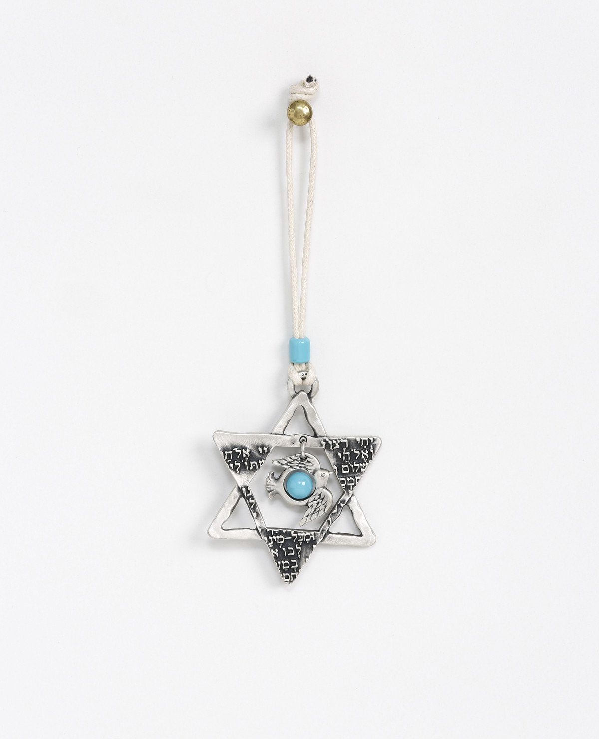Sterling silver plated car pendant with a turquoise bead.  Length: 8 cm  Width: 7 cm