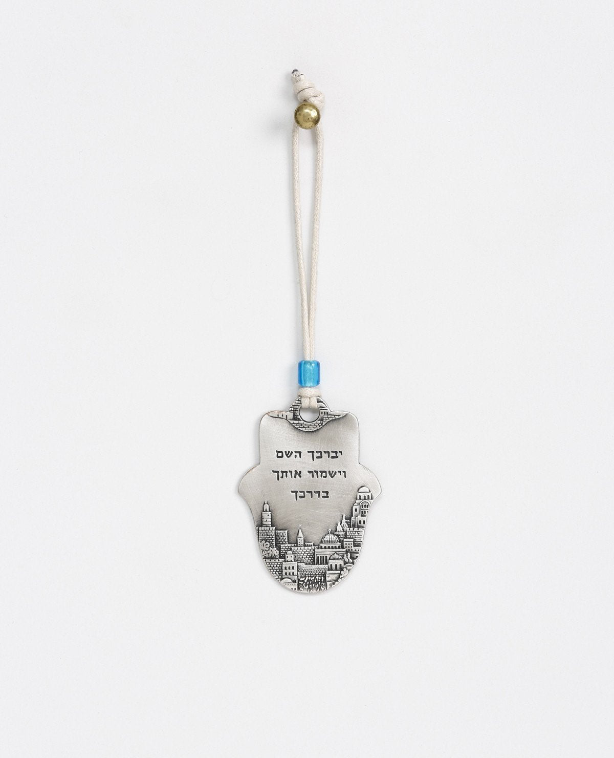 Sterling silver plated car pendant with a blue bead.  Length: 7 cm  Width: 5 cm