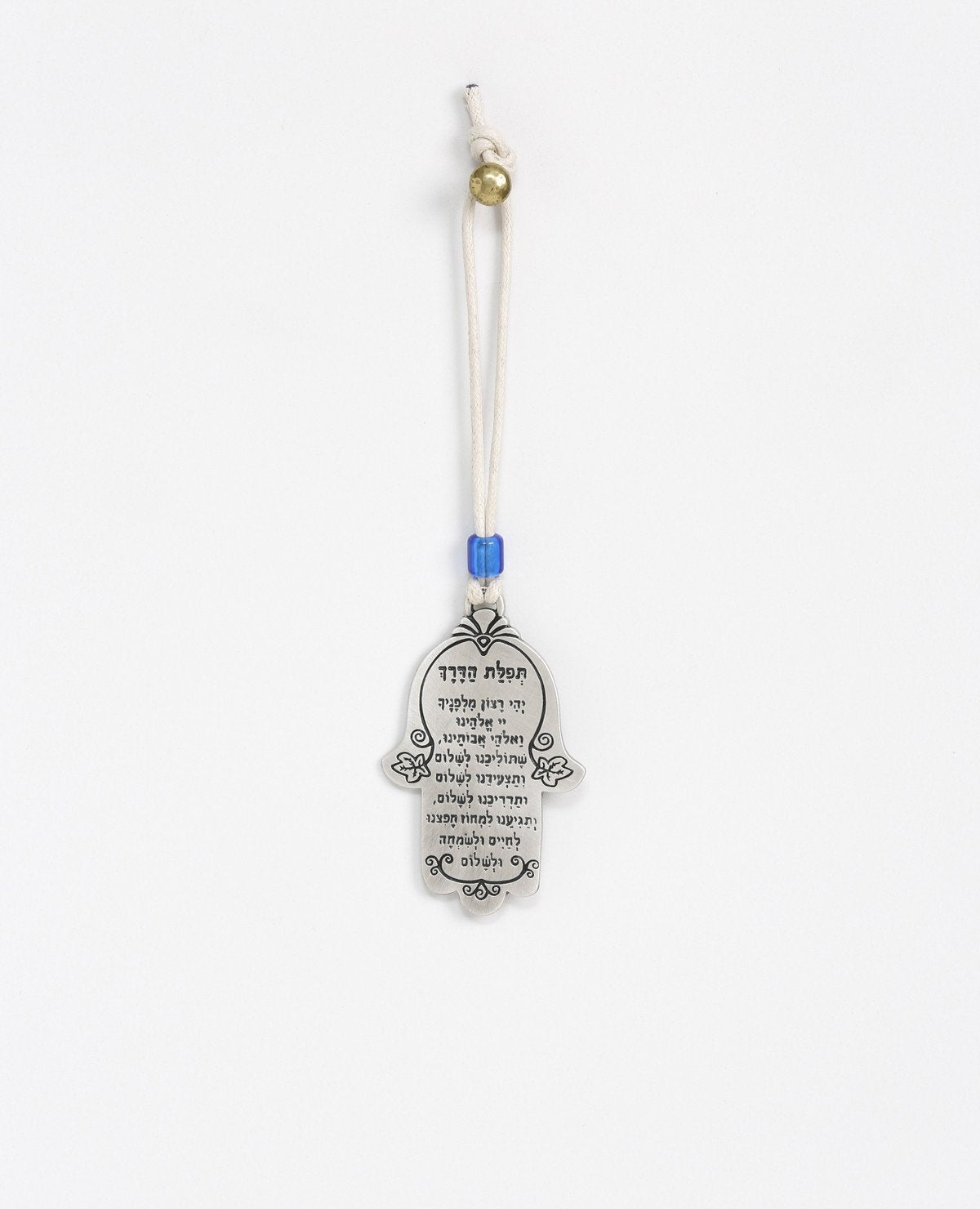 Sterling silver plated car pendant with a blue bead.  Length: 7 cm  Width: 4 cm